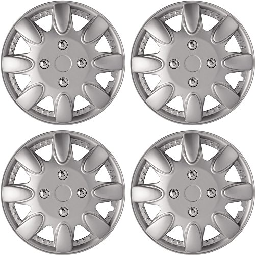 14' Silver Hubcaps (Silver Lacquer Hub Caps Fits 14' 4Pc Set for Wheel Cover Caps)