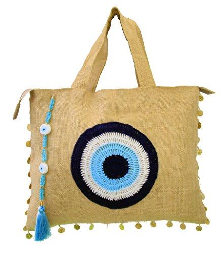 Oversize Mia Evil Eye Jute Handbag Tote Beach Bag Zipper Gift Bag with Crystals and Tassels