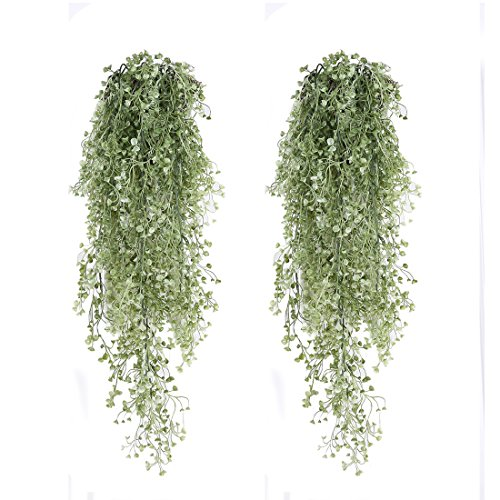 Luyue Artificial Fake Hanging Vine String Plant Home Garden Wall Decoration, Pack of 1 (33 inches, Green)