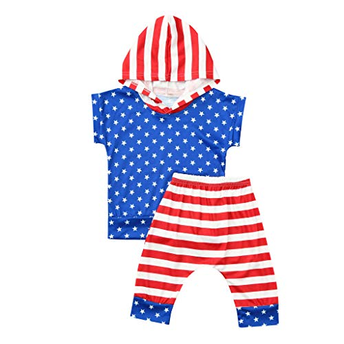 (2Piece Kids Clothing Sets Boys Short Sleeve/Sleeveless Hoodie Shirt+Striped Shorts for Toddler Baby Patriotic Outfits 6M-4Y Blue)