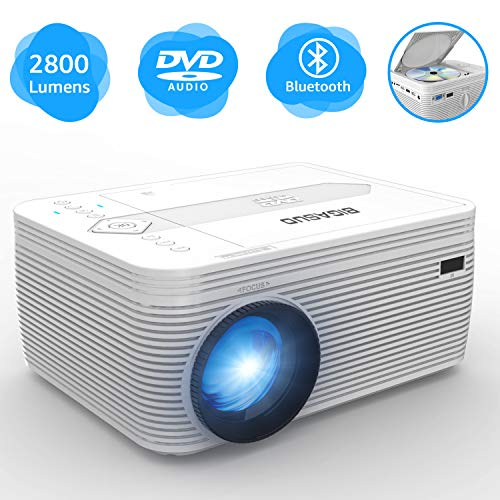 "BIGASUO Projector with DVD Player, Portable Bluetooth Projector 2800 Lumens Built in DVD Player, Mini Projector Compatible with Fire TV Stick, Roku, PS4, Xbox, 170"" Display, 1080P Supported"