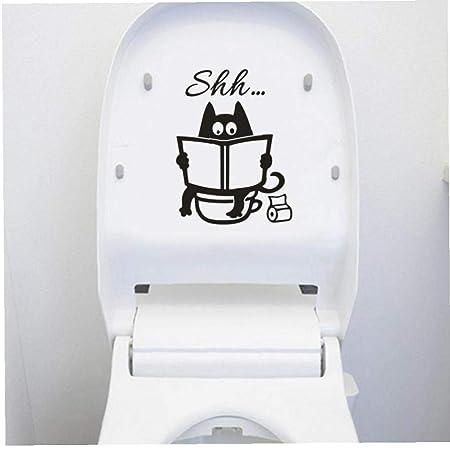 Angoter Lindo Gato de Dibujos Animados Shh WC Pegatinas ...