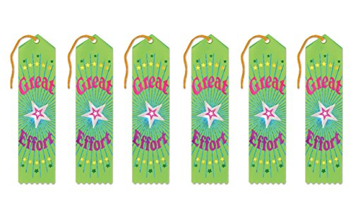 Beistle AR010 Great Effort Award Ribbons, 2 by 8-Inch, 6-Pack
