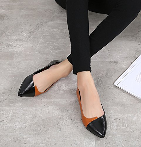 Color Loafers Women's Pointed Chic Aisun Slip Black On Toe Block Shoes qOgTxIwp
