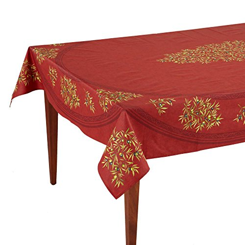 Occitan Imports Clos des Oliviers Rouge Rectangular French Tablecloth, Coated Cotton, 63 x 98 (6-8 people)