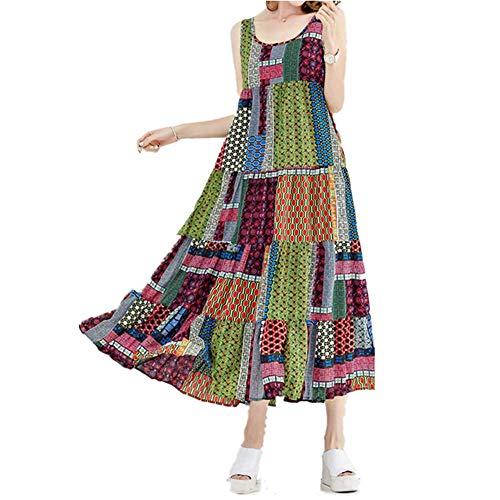 JESPER Women Loose Ethnic Print Long O-Neck Long Sleeves Flowy Skirts Maxi Caftan Dress (Small(USA 4/6) /Tag M, Yellow) ()