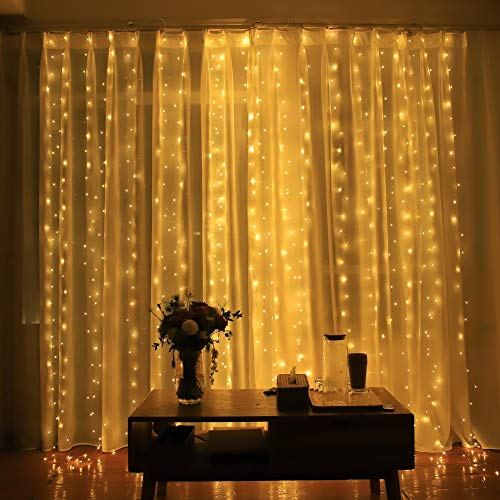 Honche Led Curtain String Lights USB with Remote for Bedroom Wedding (Warm White)