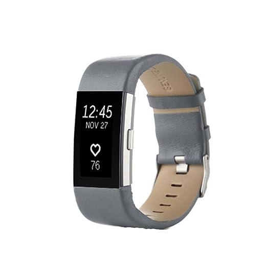 Para Fitbit carga 2, ❤ Manadlian Correa de reloj de cuero genuino de deportes Correa de la muñeca Pulsera de banda Para Fitbit Charge 2 (Gris): ...