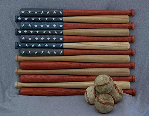 - American flag made out of 18 inch baseball bats. Rustic/aged/vintage