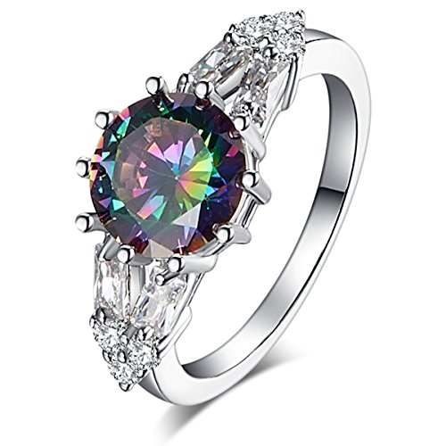Psiroy 925 Sterling Silver Created Rainbow Topaz Filled Split Shank Band Cocktail Ring