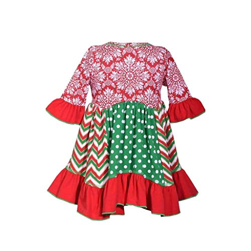 Bonnie Jean Holiday Christmas Dress - Mixed Panel Dress for Baby and Toddler Girls