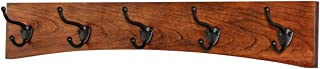 "product image for PegandRail Solid Cherry Arched Wall Mounted Coat Rack Bronze Hat & Coat Hooks - Made in The USA (Mahogany, 25.5"" x 4.5"" with 5 Hooks)"