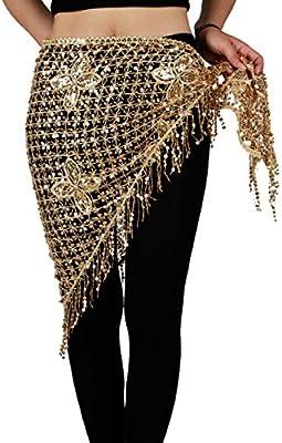 Belly Dance Crochet Beaded Triangle Wrap Belt Hip Scarf