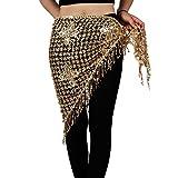Belly Dance Tassel Triangle Hip Scarf - Hip Skirt Belly Dancing Belt Triangle Shawl Waist Chain for Women/Girls(Gold)