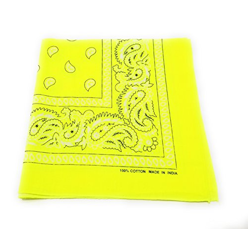 - M.H.I. 12 Pack One Dozen Color Double Sided Print Paisley Cowboy Novelty 100% Cotton Bandana Scarf(Many Colors) (Neon Yellow)