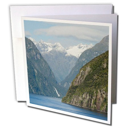 Danita Delimont - New Zealand - New Zealand, Fiordland National Park. Fjord mountains and waterfall. - 6 Greeting Cards with envelopes (gc_226434_1)
