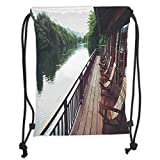 Asian,Wooden Chairs in Floating Hotel on the River Kawai in Thailand Idyllic Resort Travel,Brown Green Soft Satin,5 Liter Capacity,Adjustable String Closu