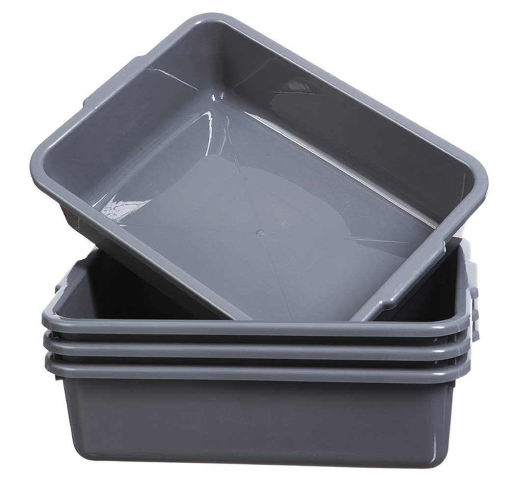 4-Pack Commercial Bus Tubs 8L, Plastic Bus Box/Tote, Grey Bus Wash Dish Basin Pans
