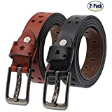 Set of 2 Women's Genuine Cowhide Leather Belt Ladies Vintage Casual Belts for Jeans Shorts Pants Summer Dress for Women With Alloy Pin Buckle By ANDY GRADE (Style 2)