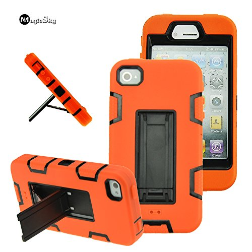 iPhone 4s case, iPhone 4 case, MagicSky Robot Series Hybrid Armor Defender Case Cover with Kickstand for Apple iPhone 4/4S - Black/Orange (Iphone 4 Orange Screen)