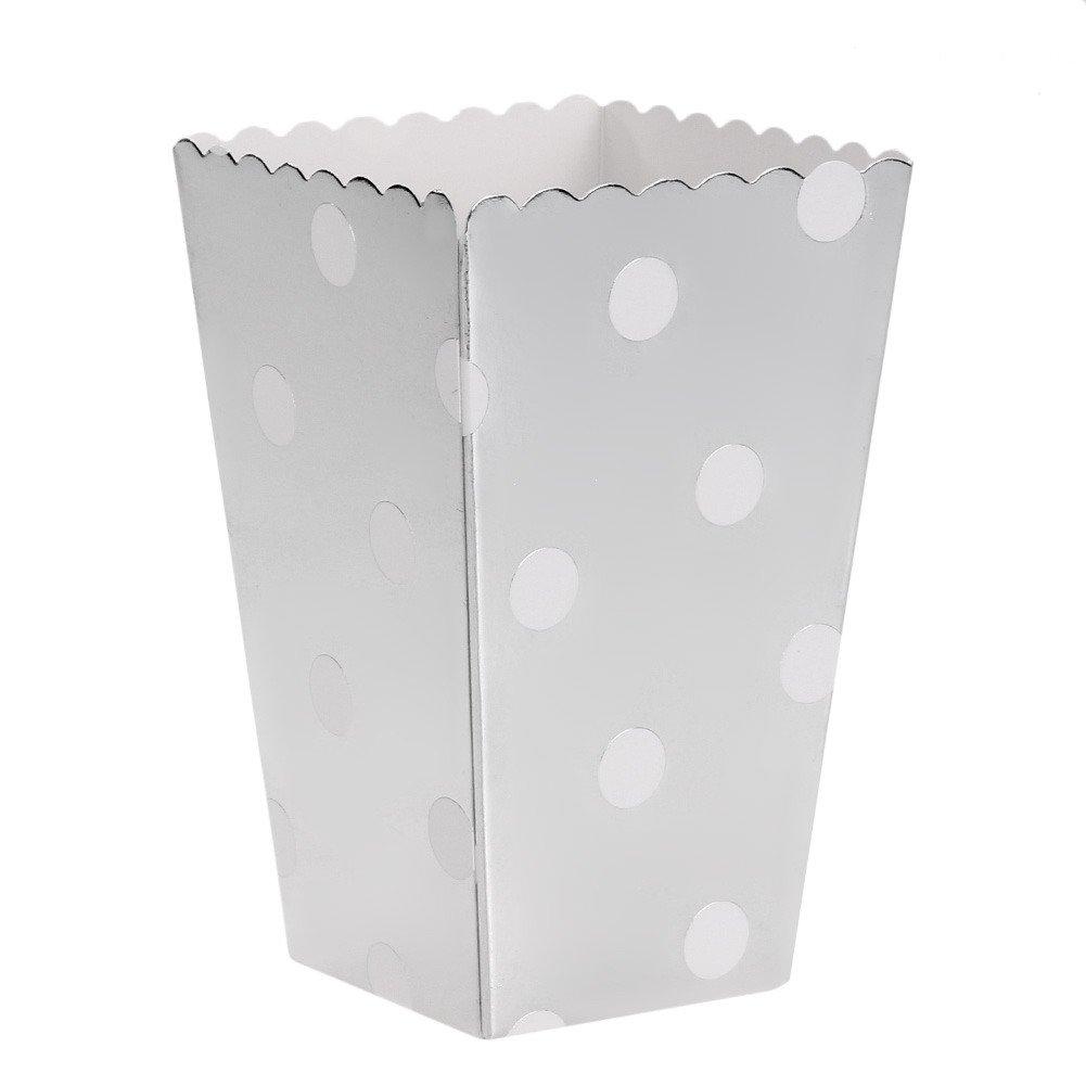 Demiawaking 12 pz Scatole di Popcorn, snack, dolcetti, Scatoletta portatile ,Scatole a righe ,a pois, ondulato Scatole Scatoletta per cibo Popcorn Box