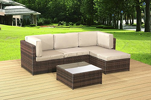Alexander Morgan AM705 Garden Rattan Furniture Lounge Set Corner Sofa Table - Brown Weave