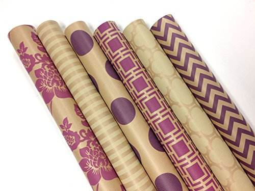 (Kraft Pink and Cream Wrapping Paper Set - 6 Rolls - Multiple Patterns - 30