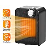 TRUSTECH Portable Ceramic Space Heater, 1500W with Adjustable Thermostat, Tip-Over & Overheat Protection, Fast Heating Oscillating Desk Floor Fan Office Home Indoor Use, Black 1603