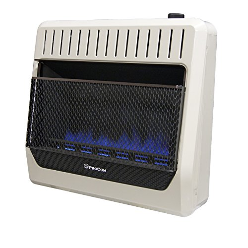 Procom Blue Flame - Procom MG30TBF Ventless Dual Fuel Blue Flame Wall Heater Thermostat Control – 30,000 BTU