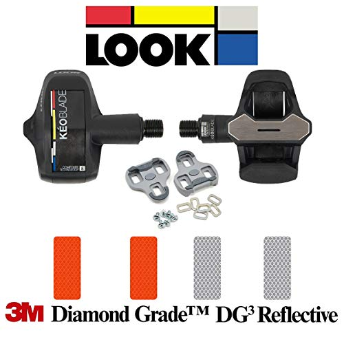 - Look Keo Blade Pedal - Black (2 Blades 8nm and 12nm), Keo Grip Gray Cleats Bundle with 4 pcs of 3M Reflective Stickers