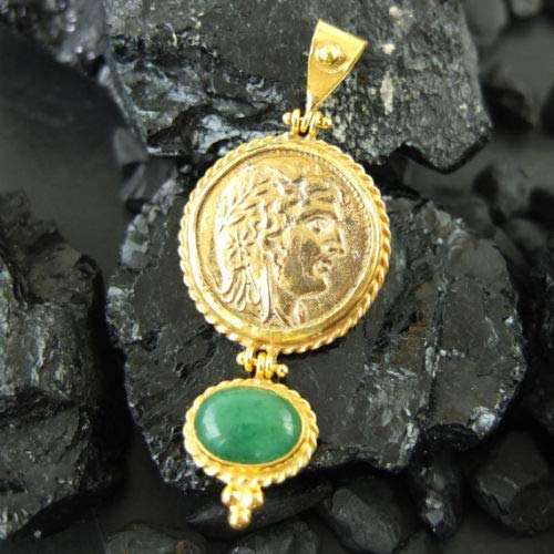 Ancient Design Handmade Large Coin & Natural Emerald Pendant 22K Gold over 925K Sterling Silver ()