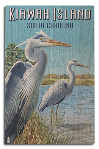 Lantern Press Kiawah Island, South Carolina - Blue Herons (10x15 Wood Wall Sign, Wall Decor Ready to Hang)