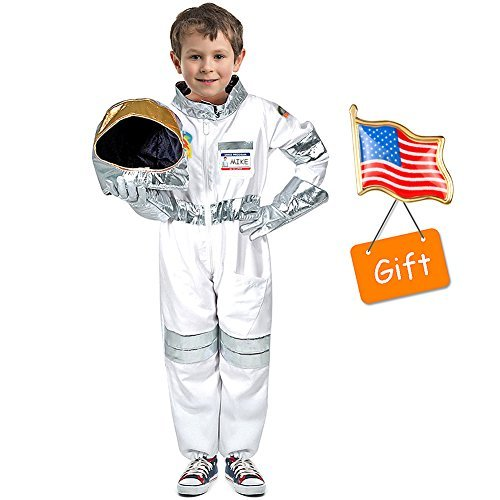 Children's Astronaut Costume Dress up Role Play Set for Kids Boys Girls with a Free America Flag Pin ()