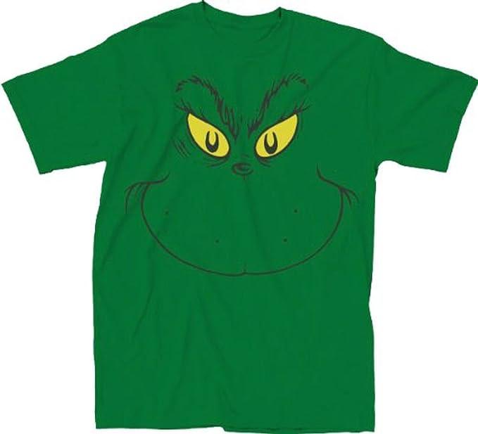 Greatest Amazon.com: Dr. Seuss Big Grinch Face Green Adult T-shirt Tee  NZ06