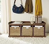 Safavieh Home Collection Lonan Medium Walnut and White Wicker Storage Bench