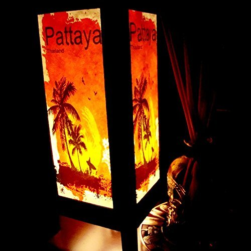 Pakdeevong shop Pattaya Beach Sunset Orange Handmade Asian Oriental Wood Light Night Lamp Shade Table Desk Art Gift Home Vintage Bedroom Bedside Garden Living (Manicures Para Halloween)