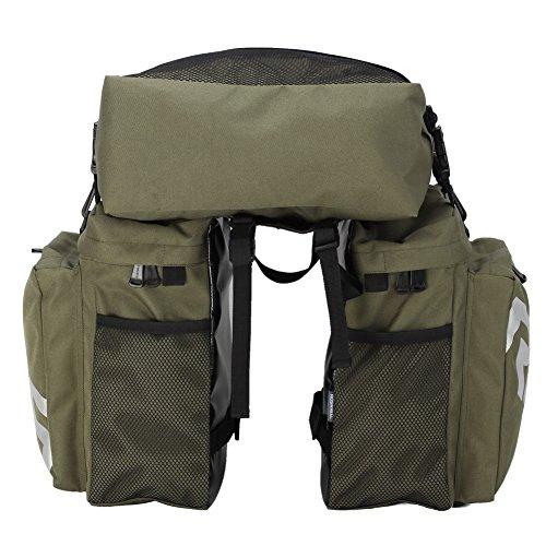 Click Down ROSWHEEL Bicycle Cycling Bike 3 in 1 Waterproof Pannier Bag Rear Pack Shoulder Bag-Army Green