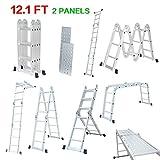 finether 3.7m Multifunction 12Echelons Standard EN131Telescopic Ladder Aluminium Ladder DIY Tool (2Panels)
