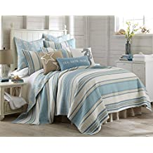Blue Maui Full/Queen Cotton Quilt Set Blue Stripe