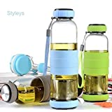 Styleys Green Tea Bottle Water cum Green Tea Maker with a bottom infuser cum filter Sport outdoor Portable bottle (Assorted Color Will Be Send)