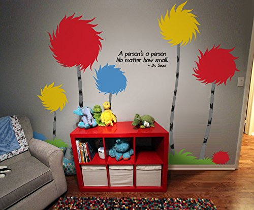 "Designer Playground Dr Seuss Inspired Trufulla Tree With Cotton Puff And A person's quote Vinyl Wall Decal (126""W X 81""H) K141 Red Yellow Blue by DESIGNER PLAYGROUND (Image #3)"