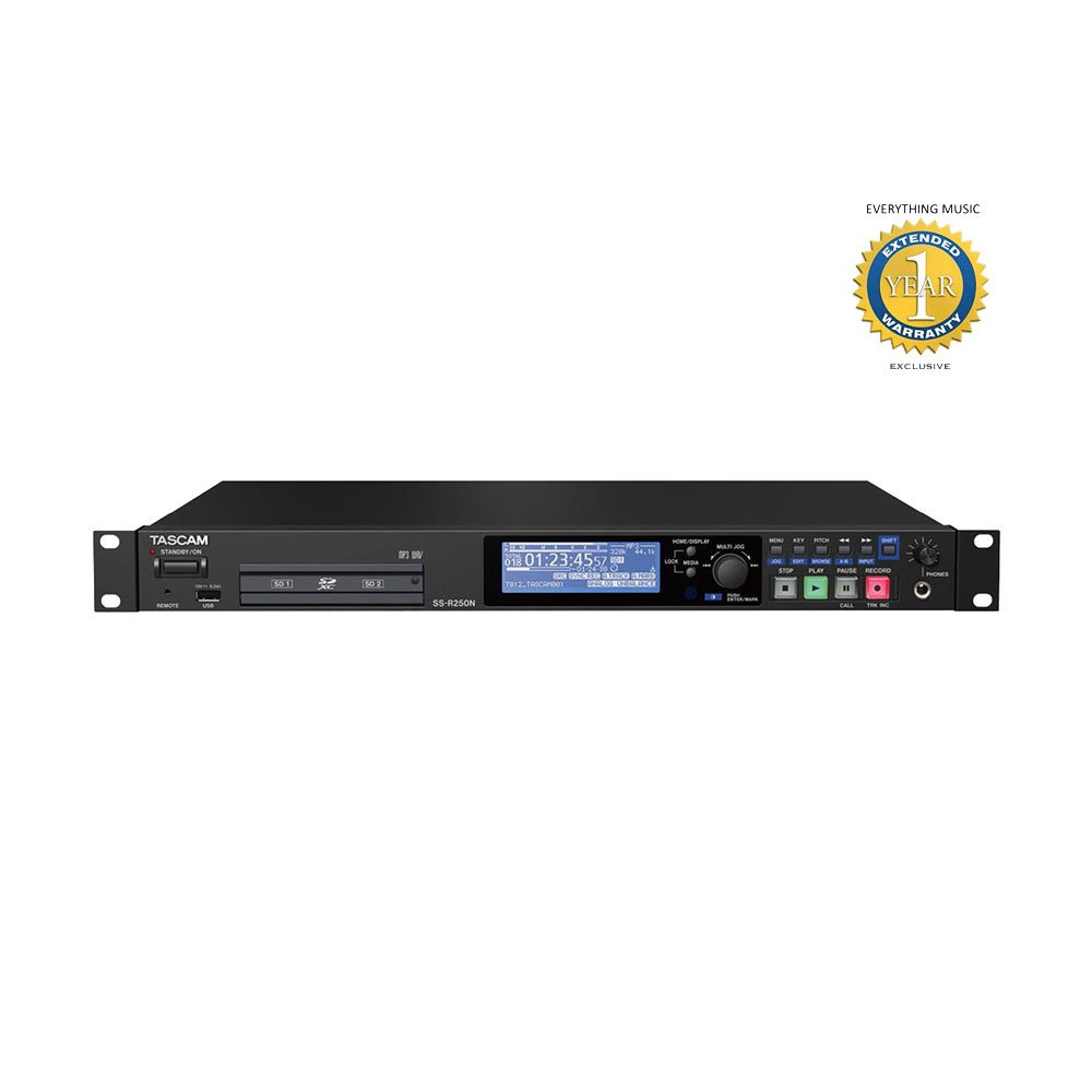 Tascam SS-R250N Memory Recorder with Networking and 1 Year EverythingMusic Extended Warranty Free