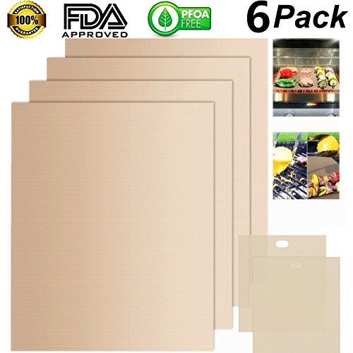 BBQ Grill Mat ,BISTAO Grilling Mats Set of 4 for Gas Charcoal Electric Barbecues FDA-Approved, PFOA Free 16 x 13 Inch with 2 pack Toaster Bags - Beige
