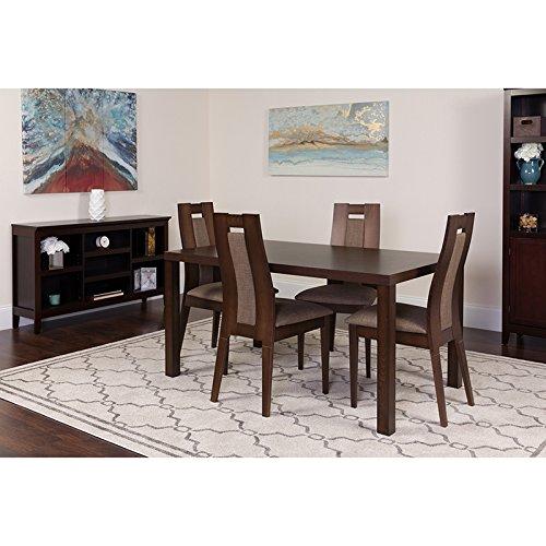 Flash Furniture Beckham 5 Piece Espresso Wood Dining Table Set Curved Slat Wood Dining Chairs - Padded Seats Espresso/Beechwood (Slat Back Piece 5)