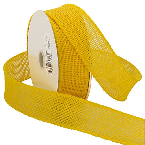Morex Ribbon Burlap Wired Ribbon, 1-1/2-Inch by 10-Yard Spool, Bright - Ribbon Morex Lace