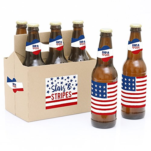 Big Dot of Happiness Stars and Stripes - Memorial Day USA Patriotic Party Decorations for Women and Men - 6 Beer Bottle Label Stickers and 1 Carrier