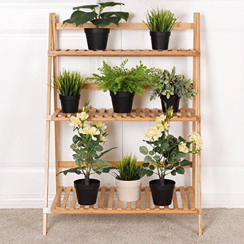 "Giantex Plant Flower Stand Rack Shelf 3-Tier Bamboo Foldable Pot Racks Planter Organizer Display Shelves, 27.6"" x15.7"" x 38.2"" (Natural)"