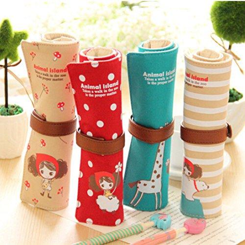 Cute Kawaii Cartoon Canvas Roll Pencil Case Lovely Fabric...