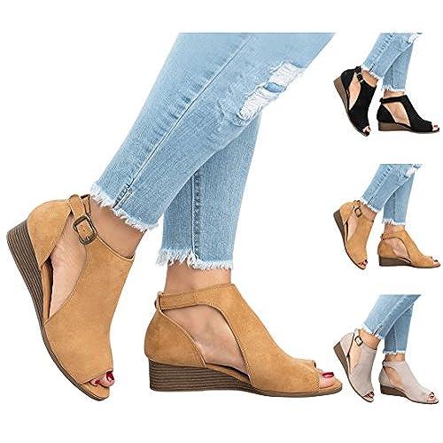 3b0ded5bc Caliente de la venta Bigtree Zapatos de Tacón Sandalias Mujer Alpargatas Peep  Toe para Mujer Plataforma