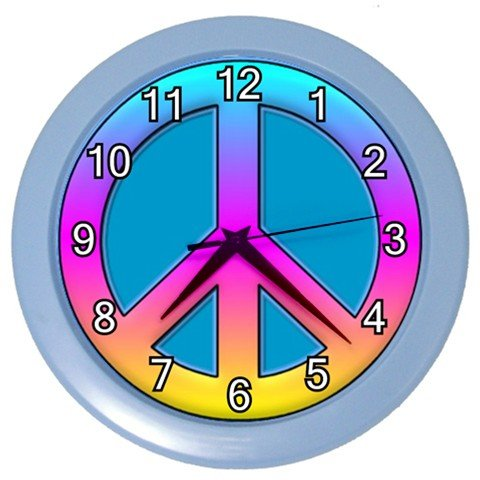 Colorful Peace Sign Design Plastic 10 inch Wall Clock